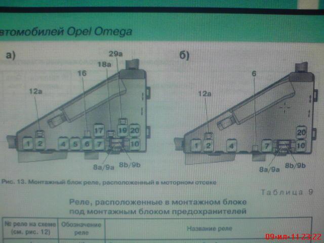 схема реле опель омега 2.0