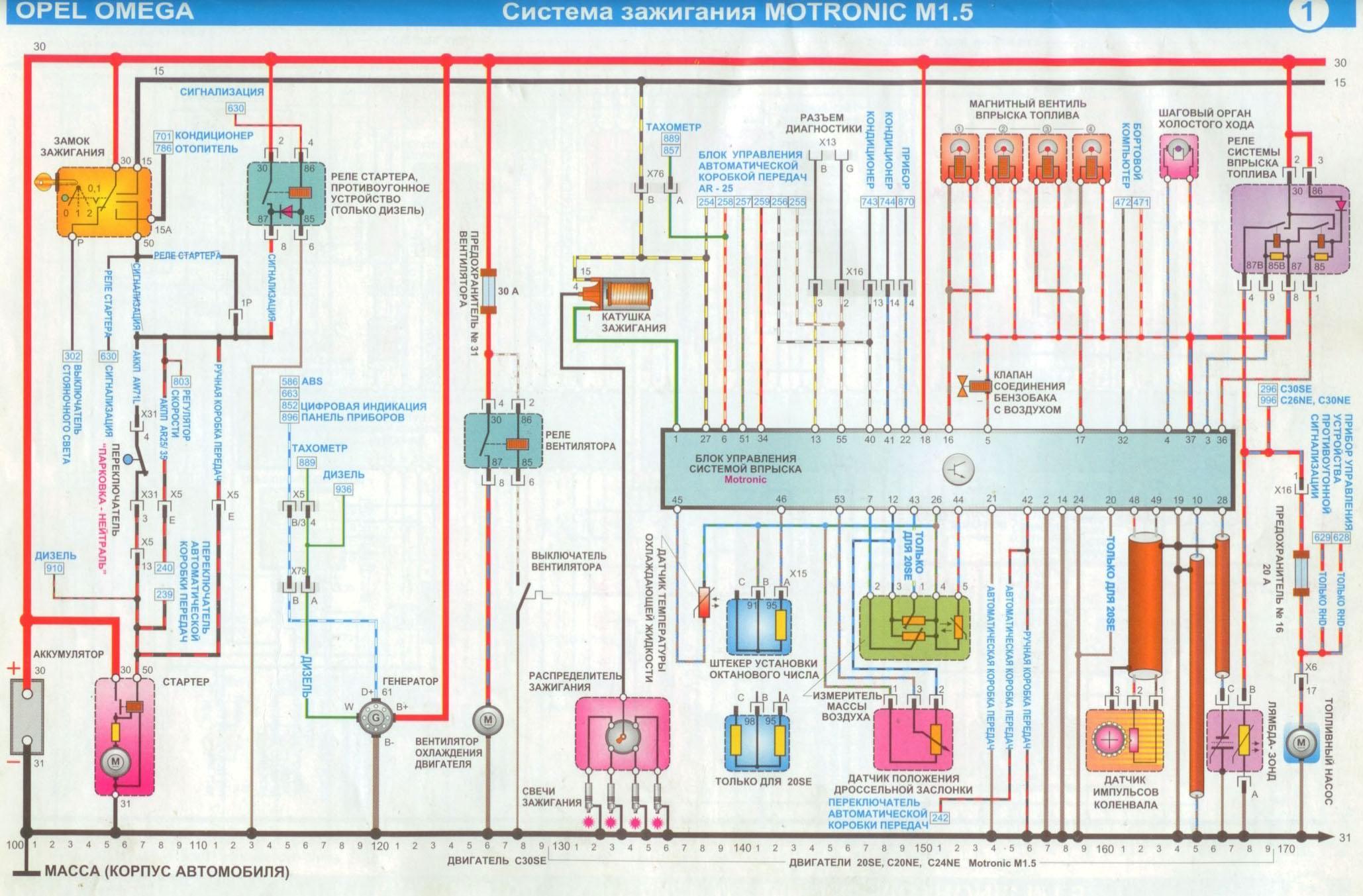 opel omega b схема модуль зажигания