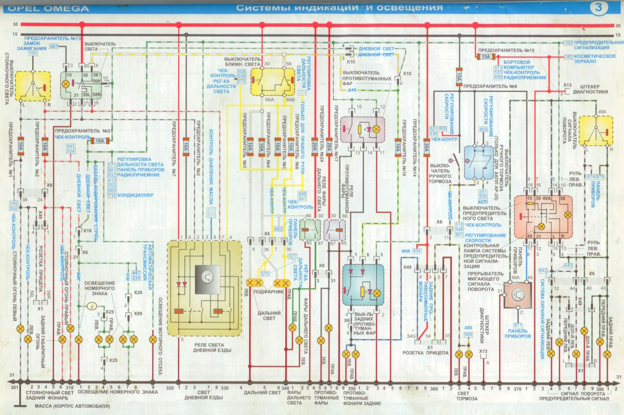 принципиальная схема проводки опель омега б